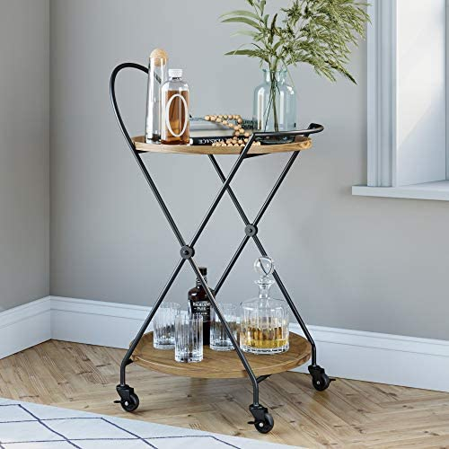 Nathan James Sage Retro Mid-Century Round Rolling Bar Serving Cart with 2-Tier Trays and Powder Coated Metal Finish, Warm Walnut Black