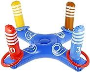 Leafgreenus Inflatable Pool Ring Toss Game with 4 Ring Toss Rings Inflatable Cross Ring Toss Water Flatting Po