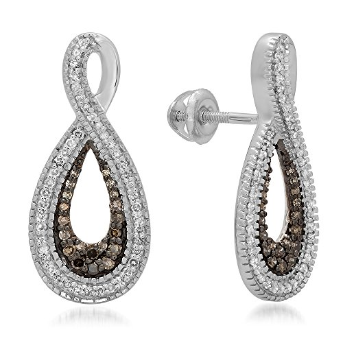 Fingalo 0.45 Carat (ctw) 925 Sterling Silver Champagne & White Diamond Ladies Infinity Loop Drop Earrings 1/2 CT