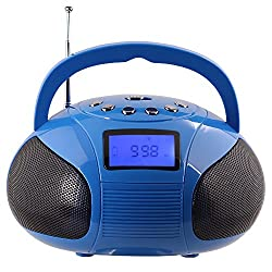August SE20 Mini Bluetooth MP3 Stereo System Portable Radio with Powerful Bluetooth Speaker- FM Alarm Clock Radio with Card reader, USB and AUX in (Micro USB) - 2 x 3W Stereo Speakers (Blue)