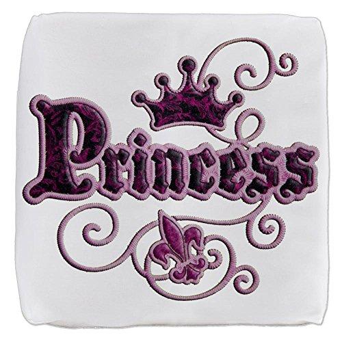 (13 Inch 6-Sided Cube Ottoman Fleur De Lis Princess)