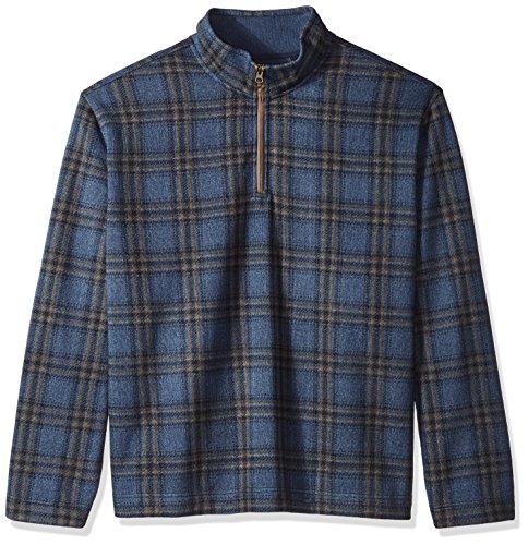 Arrow Men's Big and Tall Aberdeen Long Sleeve Sweater Fleece 1/4 Button Mock Pullover, Mood Indigo, ()