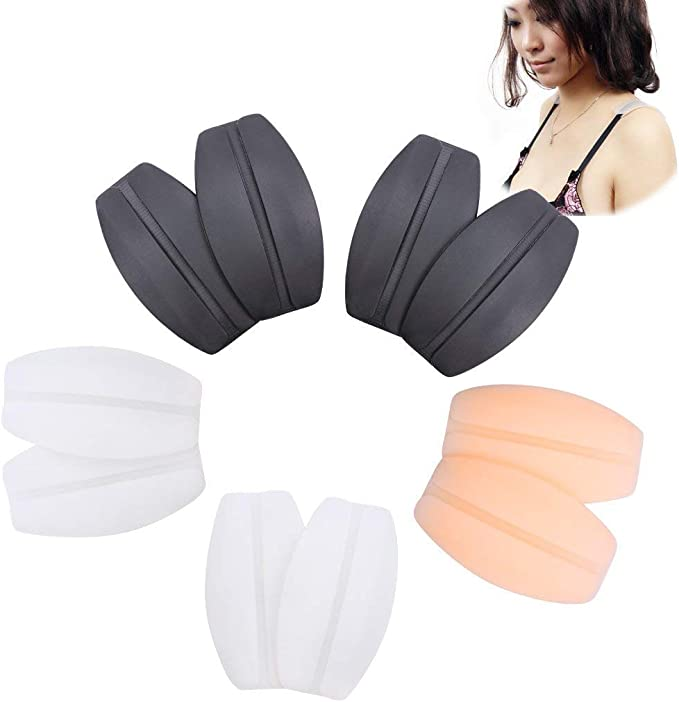 2Black,2Transparent,2Beige EIMGO Womens Soft Silicone Bra Strap Cushions Holder Non-Slip Comfort Shoulder Protectors Pads