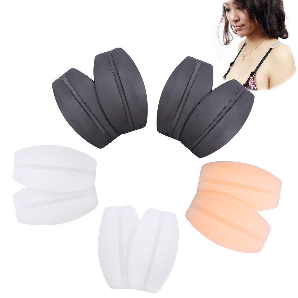 Ewinever(R) 5 Pairs Silicone Bra Strap Cushions Holder Non-Slip Comfort Shoulder Pads(2 Black, 2 transparent, 1 Beige ) EB1083-10PACK
