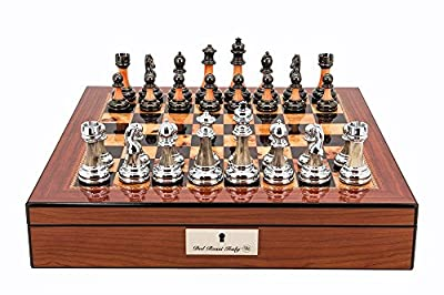 "L2073DR Dal Rossi Italy Chess Set With Metal / Marble Finish Pieces on Walnut Finish Chess Box 16"" with compartments"