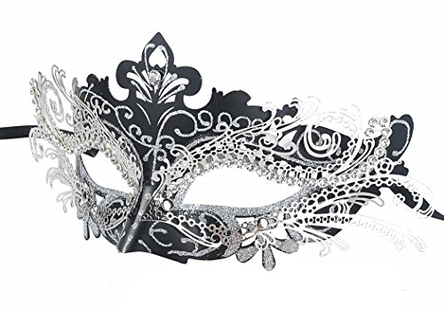 Coxeer Masquerade Mask Laser Cut Metal Masks Mardi Gras Halloween Masks for Women Ball Party(Black/Silver) -
