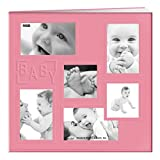 Pioneer MB-10COLB 12''X12'' Baby Sewn Collage Frame Leatherette Post Bound Scrapbook, Pink