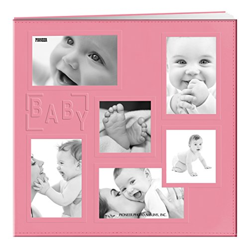 Pioneer MB-10COLB 12''X12'' Baby Sewn Collage Frame Leatherette Post Bound Scrapbook, Pink by Pioneer Photo Albums