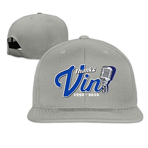 [Thanks Vin Scully Dodgers Flat Brim Hats Adjustable Baseball Cap. Ash] (Scully Costumes)