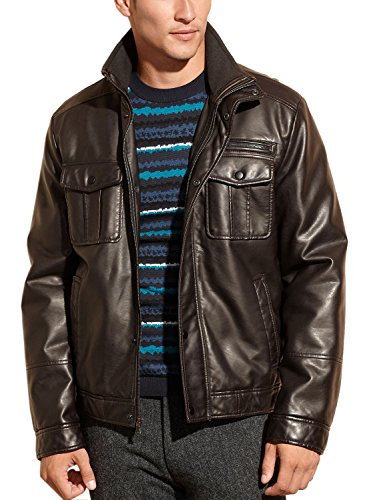 Kenneth Cole Reaction Brown Faux Leather Jacket X-Large Sherpa Lined