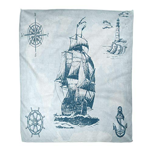 (Emvency Throw Blanket Warm Cozy Print Flannel Abstract Vintage Sailing Ship Compass Lighthouse Wheel Anchor and World Map Comfortable Soft for Bed Sofa and Couch 60x80 Inches)