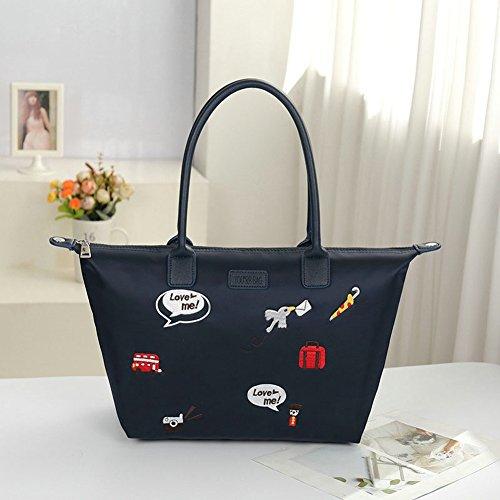 Stitchwork Large s Handbag Shoulder Tote Nylon Women Bags Travel Blue Bag Hobo Beach dtSqH7w