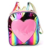 JAGENIE Women Holographic Backpack Schoolbag Rainbow Shoulder Bag with Transparent Heart Rainbow