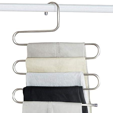 Welcomefee Perchas para Pantalones Tipo S, 5 Capas, de Acero ...