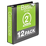 Wilson Jones 2 Inch 3 Ring Binder, Basic Round Ring View Binder, Black, 12 Pack (W362-44BPK)