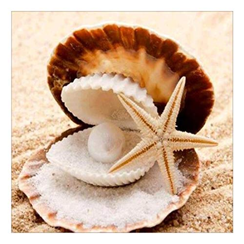 YANEE Diamond Painting Sand Starfish Pearl Shell Full Square Embroidery DIY Cross Stitch Mosaic Paste, Craft kit, Toy Game, Home Decor, Gift, Art, No Frame Style Modern Size 40 x 40 cm