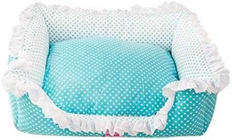 ペットベット 犬小屋かわいいテディベメ取り外し可能と洗えるペットの巣小型犬かわいいゴミ犬のマット ベッド・ソファ SHANCL (Color : Blue, Size : M:63*51*17cm)