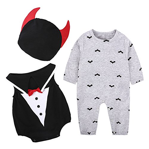Baby Vampire Costume (Infant Halloween Costume Unisex Baby Girls Boys Vampire 3 Piece Outfits by LOOLY)