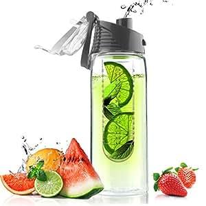 Asobu (BTA711S-8603) Flavor It Infuser Water Bottle Pure Fruit Flavour 2 Go, Smoke