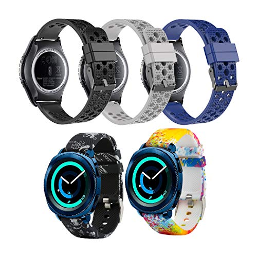 Tkasing 20mm Silicone Watch Band Replacement Strap Fitness Wristband for Samsung Gear Sport,for Samsung Gear Sport/Gear S2 Classic Bands/Huawei Watch 2 /Garmin Vivoactive 3 Band Strap