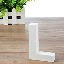 "Takefuns 5.9""x3.9""x0.8"" Wooden Hanging Wall Letters ""L"" - White Decorative Wall Letter for Children's Nursery Baby's Room, Baby Name and Girls Bedroom Décor"