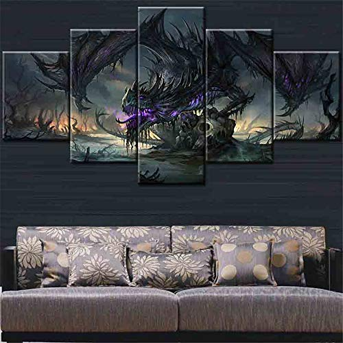 Dragon Painting - 5 Pieces Canvas Art Flying Fantasy Dragon at Night Canvas Painting Decorations for Home Wall Art Prints Canvas No Framed