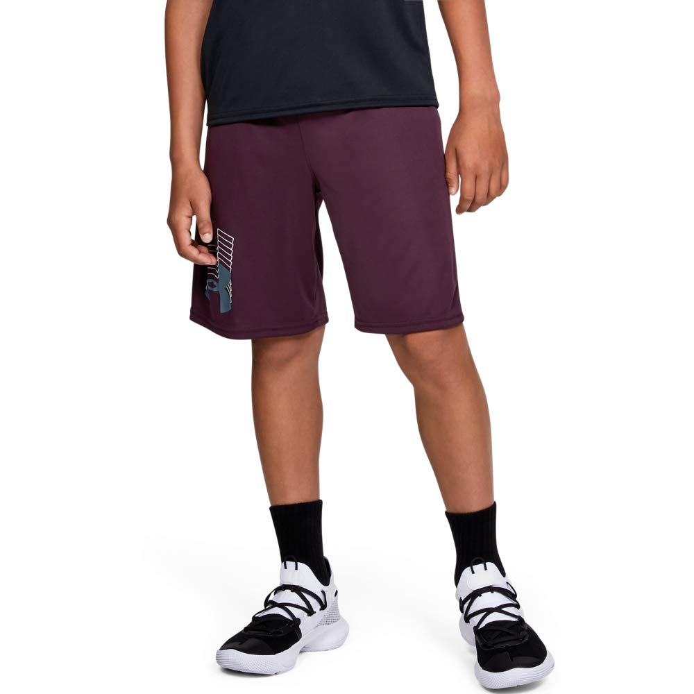 Under Armour boys Prototype Logo Shorts, Kinetic Purple (520)/Ash Gray, Youth Small by Under Armour