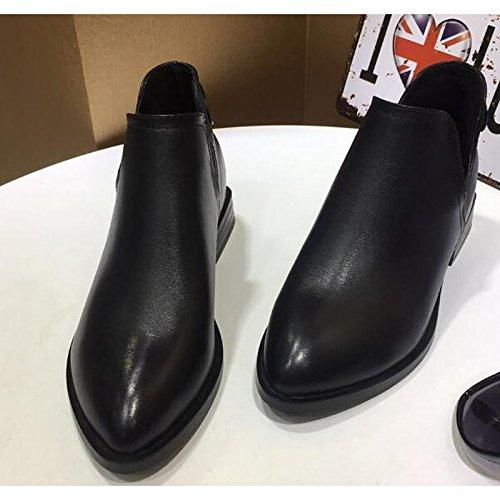 Herbst HSXZ Booties Comfort Damen Absatz Schwarz niedrigem Rindsleder Stiefeletten Casual Frühling für Bootie Schuhe Stiefel TxRxqpI