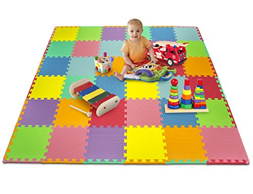 Patchwork Mat - Matney Foam Mat Puzzle Piece Play Mat Set - Safe for Kids to Play and Learn - Great for Nurseries, Play Rooms, Gyms, Day Care, Classrooms, Playgrounds Etc. - 36 Tile Pieces and Borders