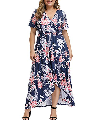 Allegrace Women Plus Size Maxi Dresses Snakeskin Wrap V Neck Summer Casual Flowy Long Dress P53 White-Leaf Flower Dark Blue 4X