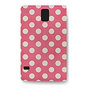 Leather Folio Phone Case For Samsung Galaxy S5 Leather Folio - Polka Dots on Hot Pink Leather Back