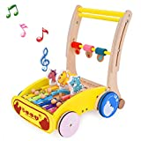 ROOYA BABY Wooden Baby Walker - Multifunctional Music Activity Walker Learning Walking Toys for 1 Year and Up - Toddler Push and Pull Wooden Learning Walker with Xylophone & Gears