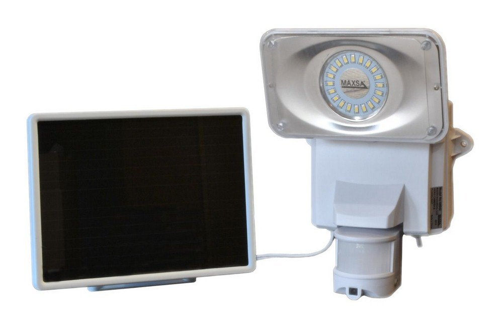 Maxsa Innovations Motion-Activated Solar Security Video Camera Floodlight — 16 LEDs, 879 Lumens, Model# 44642-CAM-WH