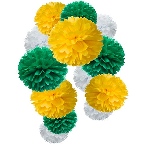Paper Flower Tissue Pom Poms Party Supplies (yellow,green,white,12pc) -