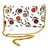 Marino Orlandi Designer handpainted Roses White Leather Oversized Clutch Wallet
