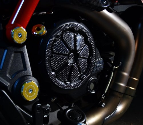 DUCATI Diavel Clutch cover Trim Real Carbon Fiber sticker guard
