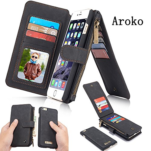Travel Case Leather Apple (iPhone 7 Case,Aroko Detachable Wallet Purse Magnetic Slim PU Leather Protective Shell Cover With Zipper PocketFor iPhone 7 Wallet Case (iphone7/7s 4.7inch, Black))
