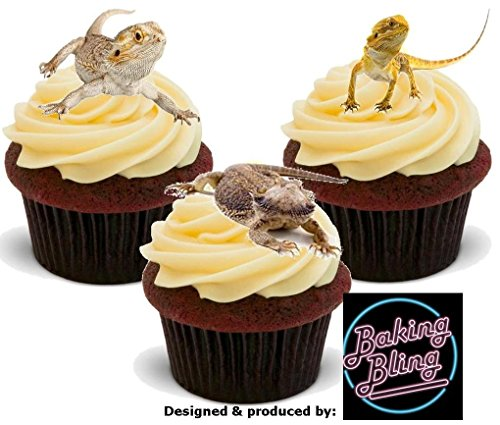 12 x Bearded Dragon Mix Reptiles Lizards - Fun Novelty Birthday PREMIUM STAND UP Edible Wafer Card Cake Toppers Decoration -