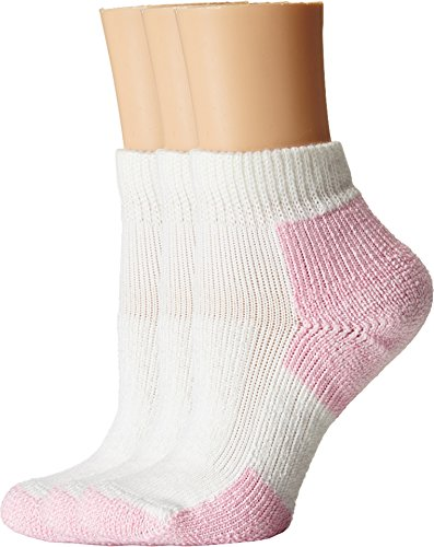 Thorlos Women's Thick Cushion Distance Walking 3-Pair Pack White/Pink - White Socks Lace Pink Ankle