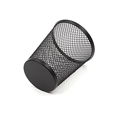 Mesh Pencil Holder Metal Pencil Cup 4 inch Pen Organizer Black 4 Packs