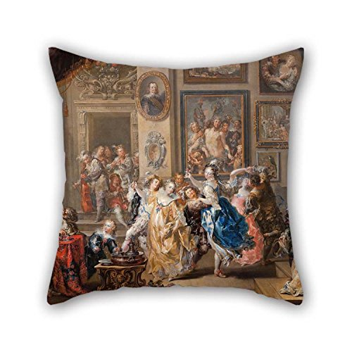 beeyoo Throw Pillow Case of Oil Painting Johann Georg Platzer - Dancing Scene with Palace Interior for Gf Home Theater Office Father Seat Teens Boys 20 X 20 Inches / 50 by 50 cm(Two Sides)
