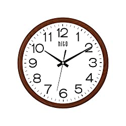hito Extra Large Oversized Silent Non-ticking Wall Clock- Glass Cover (15 inches, Wood)