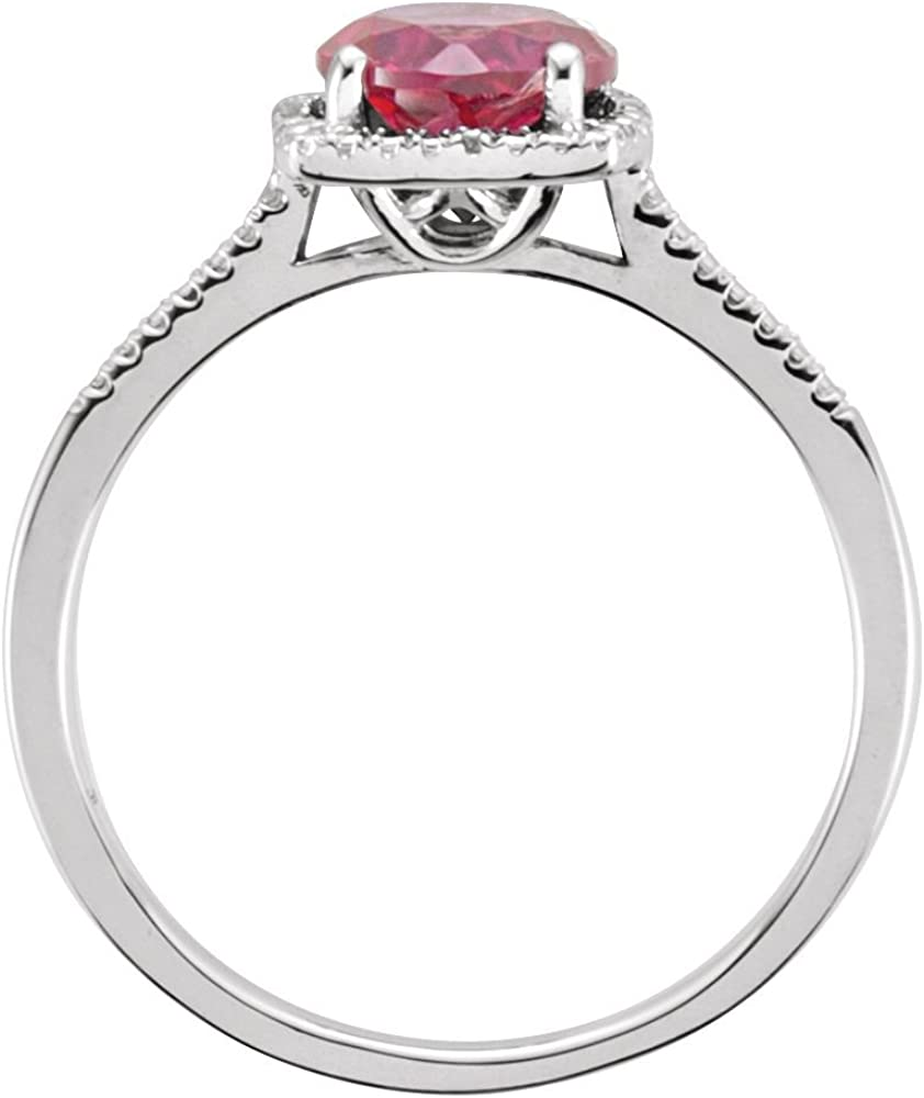 Jewels By Lux 925 Sterling Silver Lab-Grown Ruby /& .01 CTW Diamond Ring