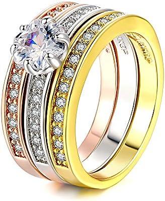 Double Fair 18k Gold Plated Tri Color Cz Diamond 3pcs Wedding