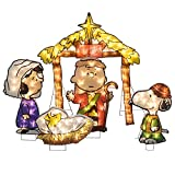 ProductWorks 32-Inch Peanuts Nativity Pageant Scene 2D Pre-Lit 150 LED Lights 5 Piece Set Yard Art
