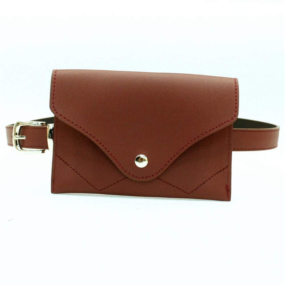 Elegant Belt Small Women Envelope Waist Bag Belt Bag PU Leather Fanny Pack Removable Belt with Waist Pouch Mini Purse Wallet Travel Cell Phone Bag Simple Ladies Belt Color : Black
