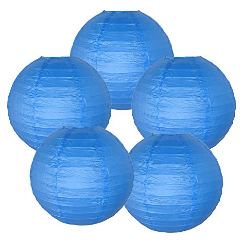 Just-Artifacts-18-Blue-Paper-Lanterns-Set-of-5-Click-for-more-ChineseJapanese-Paper-Lantern-Colors-Sizes