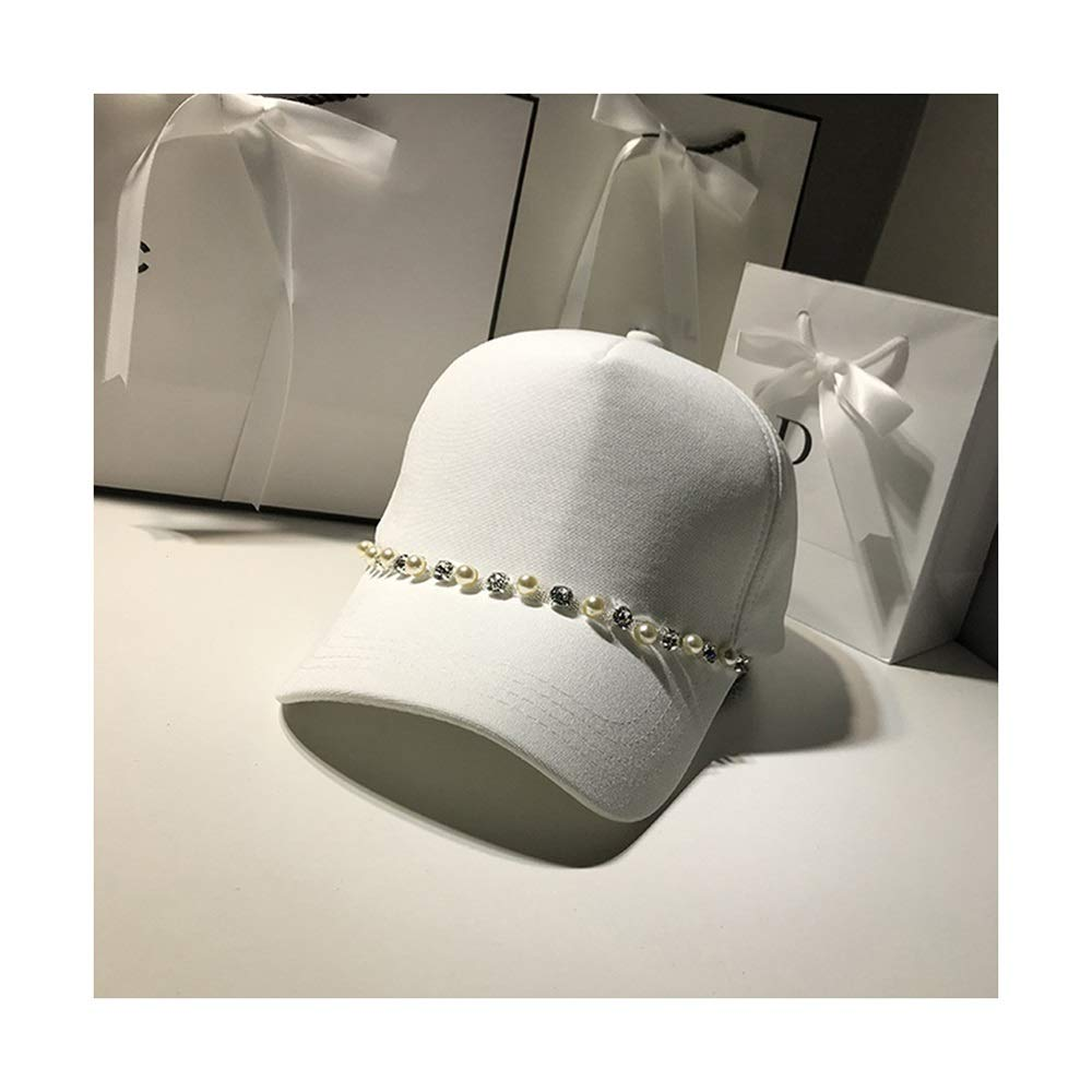 Nwn Rhinestone Series Mercerized Cotton Breathable Baseball Hat Female Outdoor Leisure Wild Korean Version of The Tide Out of Youth Baseball Cap (Color : White)