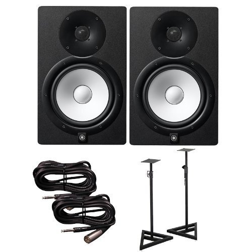 Yamaha HS8 Active Studio Monitors w Speaker Stands and TRS to XLR-Male Cables by Yamaha