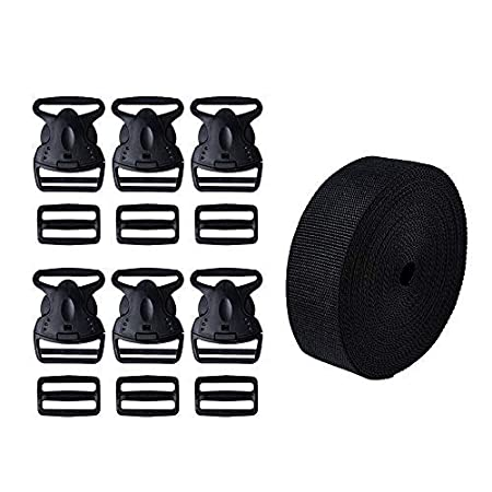 Qishare 2 Inch Insurance Plastic Buckles kit, Including 6pc Durable and Double Protection Buckles and 6pc Tri-Glide Slides with 1 Roll 11 Yards Heavy Black Polypro Webbing Straps (2' kit 13PCS)